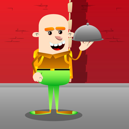 Schoolboy holding silver cloche in hand. Vector cartoon character illustration.