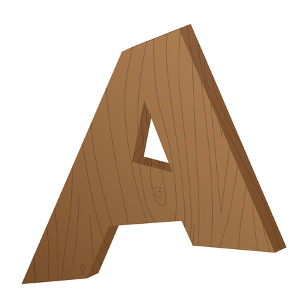Vector abstract wooden letter A, first letter from cartoon style alphabet.