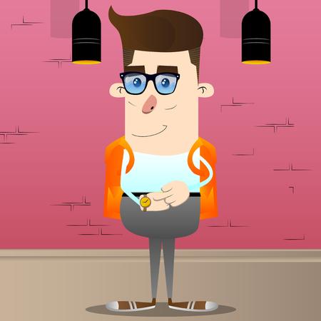 Schoolboy checking his watch. Vector cartoon character illustration. Illustration
