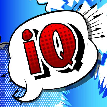 IQ - Vektor illustrierte Comic-Stilphrase.