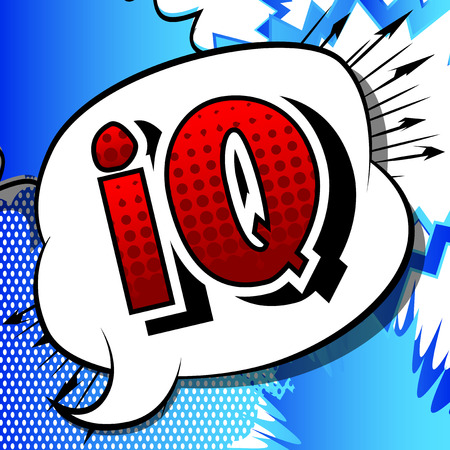 IQ - Vector illustrated comic book style phrase.