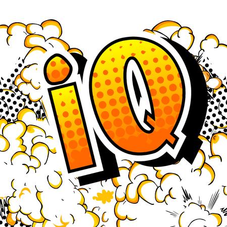 IQ - Vector estilo cómic ilustrado frase. Ilustración de vector