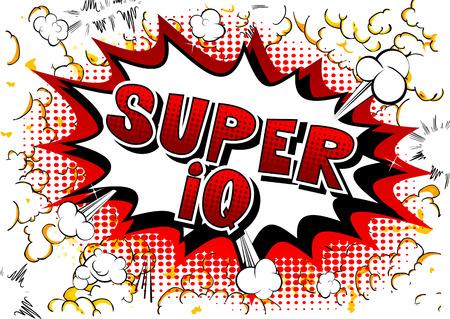 Super IQ - Vector estilo cómic ilustrado frase. Ilustración de vector