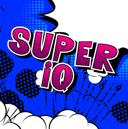 Super IQ - Vector illustrated comic book style phrase. Vectores