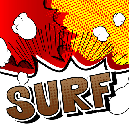 Surf - Comic book style word on abstract background.