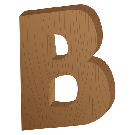 Vector abstract wooden letter B, second letter from cartoon style alphabet.