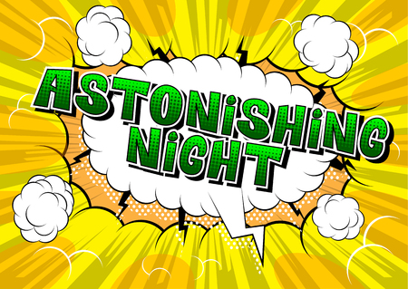 Astonishing Night - Comic book style word on abstract background. Archivio Fotografico - 108640222