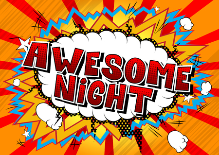 Awesome Night - Comic book style word on abstract background. Archivio Fotografico - 108640224