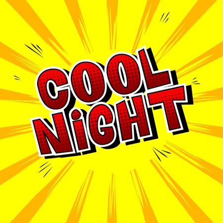 Cool Night - Comic book style word on abstract background. Banco de Imagens - 108640227