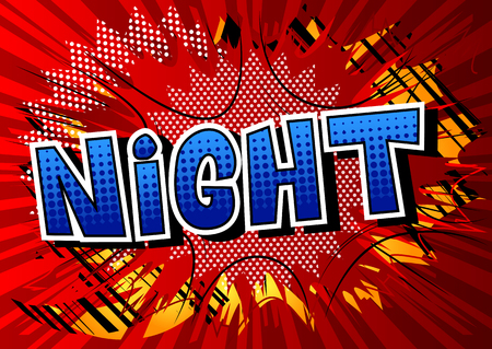 Night - Comic book style word on abstract background. Archivio Fotografico - 108640256