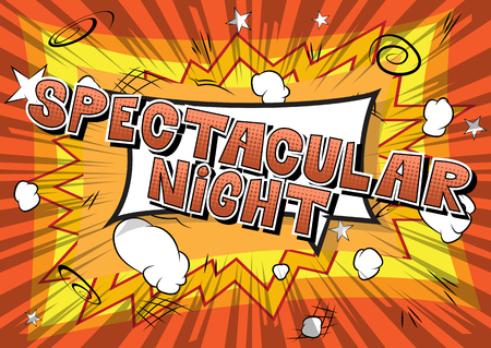 Spectacular Night - Comic book style word on abstract background. Çizim
