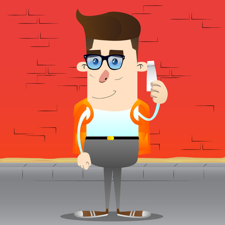 Schoolboy holding blank tube of paste. Vector cartoon character illustration. Illustration