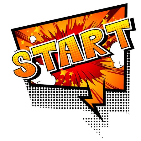 Start - Comic Stil Phrase auf abstrakten Hintergrund.