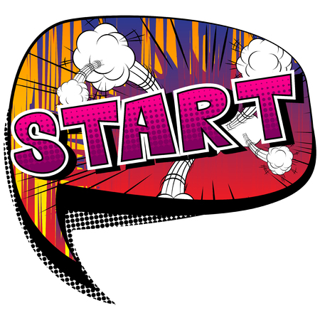 Start - Comic book style phrase on abstract background.