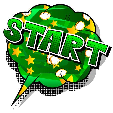 Start - Comic-Stil Satz auf abstraktem Hintergrund. Vektorgrafik