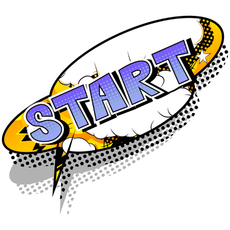 Inizio - Frase di stile di fumetti su sfondo astratto. Vettoriali