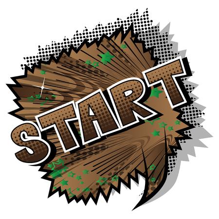 Start - Comic-Stil Satz auf abstraktem Hintergrund.