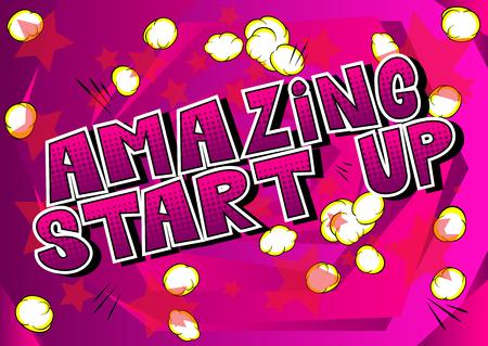 Amazing Start Up - Satz im Comic-Stil auf abstrakt