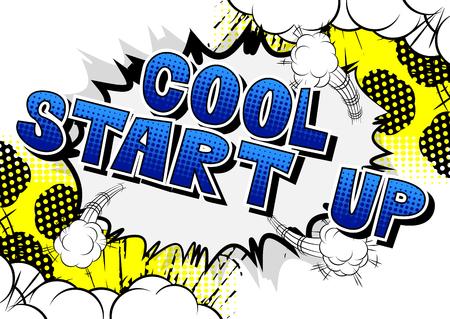 Cool Start Up - Comic-Stil Satz auf abstraktem Hintergrund.
