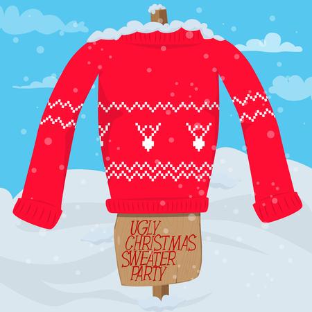 Plantilla de tarjeta de invitación de fiesta de suéter de Navidad feo. Ilustración de vector de suéter de Navidad en un palo afuera en la nieve y texto de invitación. Ilustración de vector