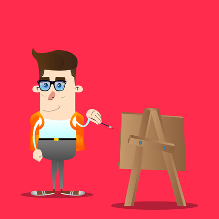 Schoolboy artist painting. Vector cartoon character illustration. Ilustração