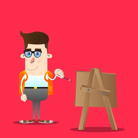 Schoolboy artist painting. Vector cartoon character illustration. Illustration