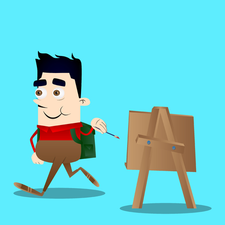 Schoolboy artist painting. Vector cartoon character illustration. 일러스트