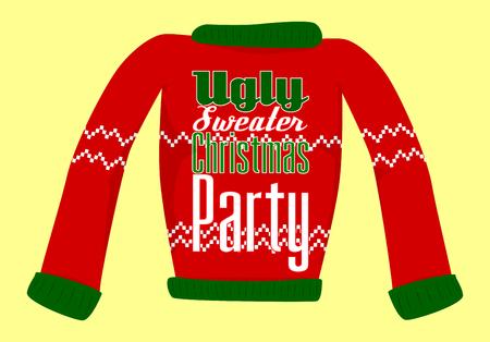 Cartolina o invito del partito del maglione di Natale brutto. Vettoriali