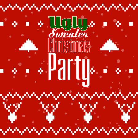 Cartolina o invito del partito del maglione di Natale brutto.