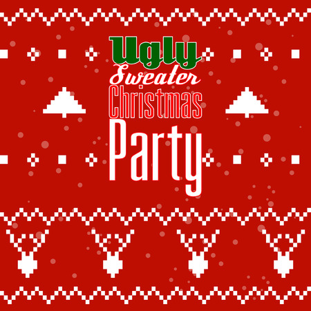 Ugly Christmas Sweater Party postcard or invitation.