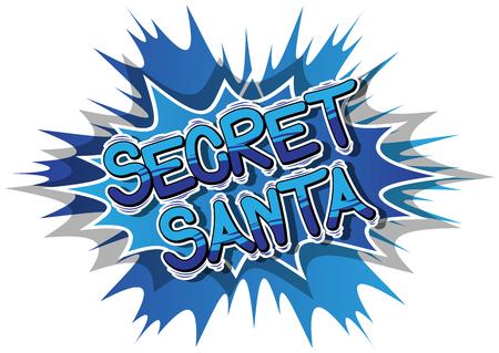 Geheime kerstman - Vector geïllustreerde zin in stripboekstijl. Vector Illustratie