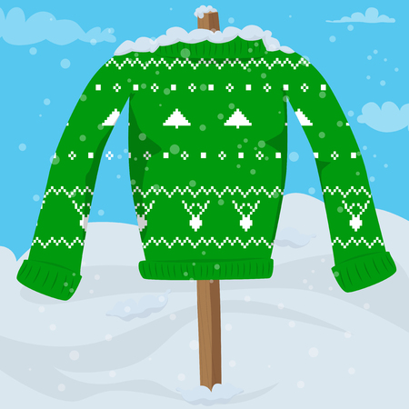 Hässliche Weihnachtspullover-Party-Einladungs-Kartenschablone. Vektorillustration des grünen Weihnachtspullovers auf einem Stock außerhalb im Schnee.