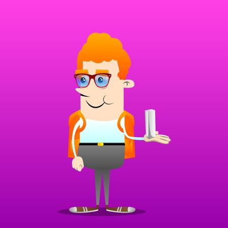 Schoolboy holding white tall box. Vector cartoon character illustration.