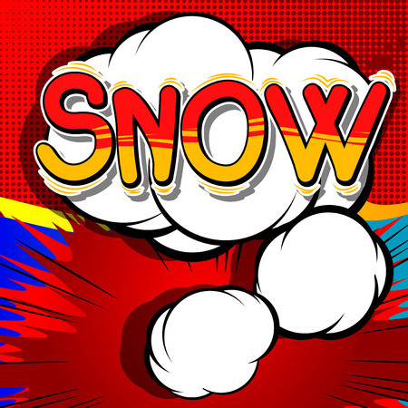 Snow - Vector illustrated comic book style phrase. Çizim