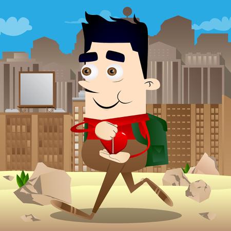 Schoolboy zipping his heart. Vector cartoon character illustration.