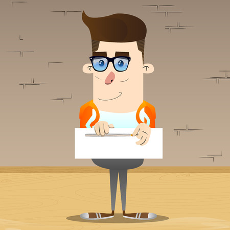 Schoolboy zipping a banner. Vector cartoon character illustration.
