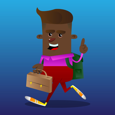 Schoolboy holding suitcase and making a point. Vector cartoon character illustration.
