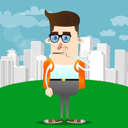 Schoolboy zipping his mouth. Vector cartoon character illustration. Illustration