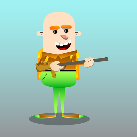 Schoolboy with a big gun. Vector cartoon character illustration.