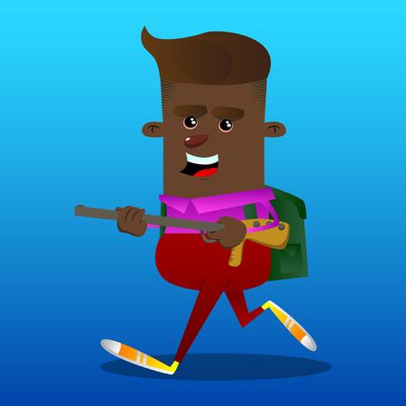 Schoolboy with a big gun. Vector cartoon character illustration.
