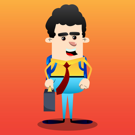 Schoolboy as boss with suitcase or bag and tie. Vector cartoon character illustration.