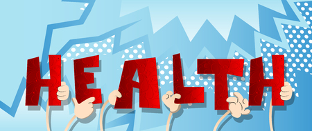 Diverse hands holding letters of the alphabet created the word Health. Vector illustration. 向量圖像