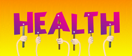 Diverse hands holding letters of the alphabet created the word Health. Vector illustration. Ilustrace