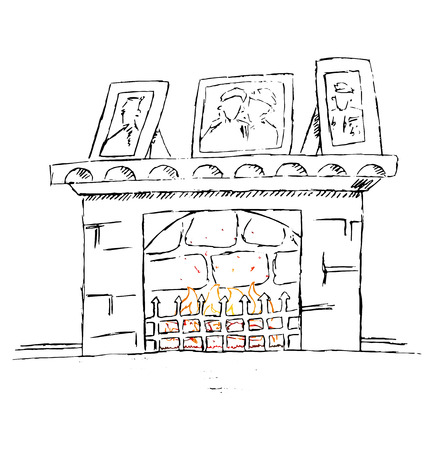 Hand drawn vector fire place. Doodle cartoon illustration.