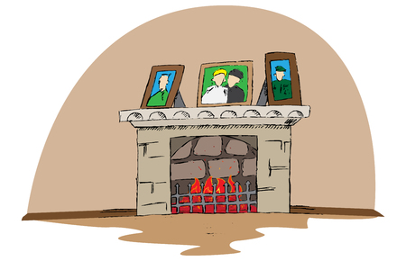 Hand drawn vector fire place. Doodle cartoon illustration. Stock fotó - 109261676