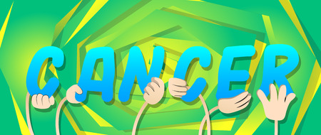 Diverse hands holding letters of the alphabet created the word Cancer. Vector illustration.