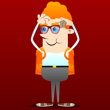 Schoolboy scratching his head with two hands. Vector cartoon character illustration.