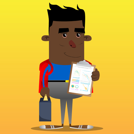 Schoolboy as boss with suitcase or bag shows finance report. Vector cartoon character illustration.