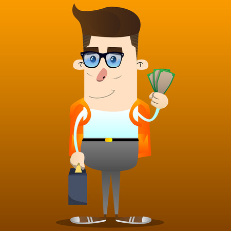 Schoolboy as boss with suitcase or bag holding or showing money bills. Vector cartoon character illustration. Ilustração