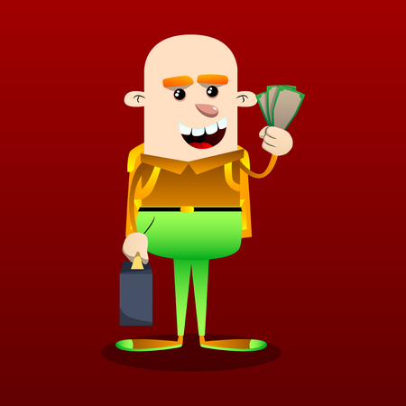 Schoolboy as boss with suitcase or bag holding or showing money bills. Vector cartoon character illustration. Illusztráció